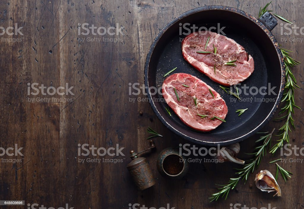 steak with rosemary, free space for your text stock photo