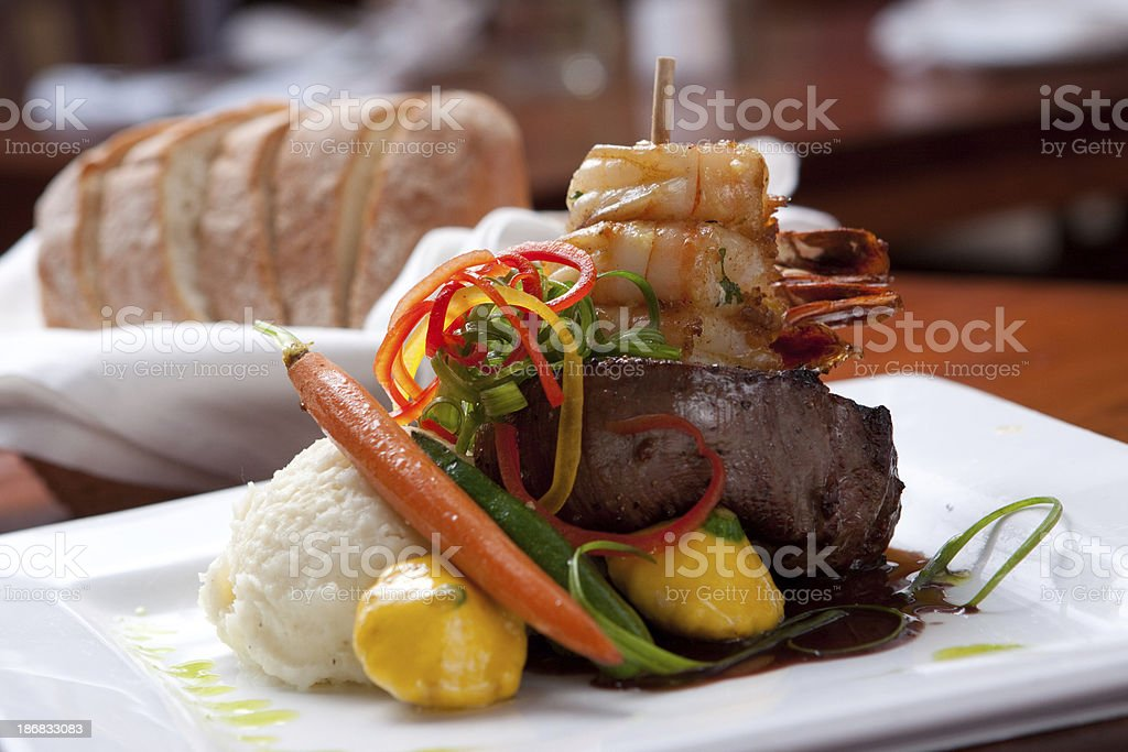 Steak with  Shrimp (surf and turf) stock photo