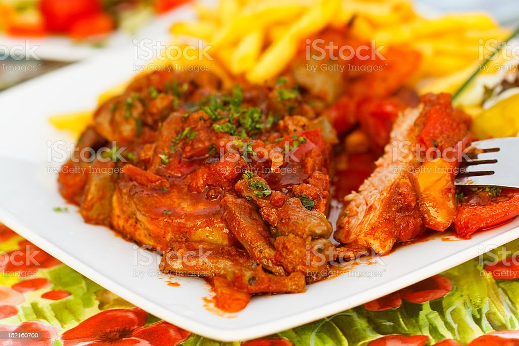 Steak with slices of roasted goose-liver royalty-free stock photo