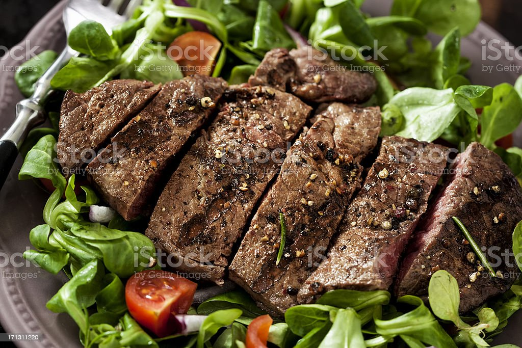 Steak with Spring Salad royalty-free stock photo