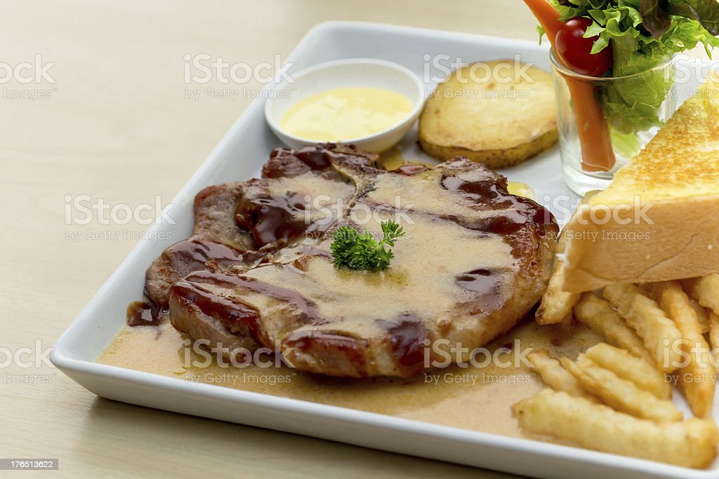 Steaks and Salad royalty-free stock photo