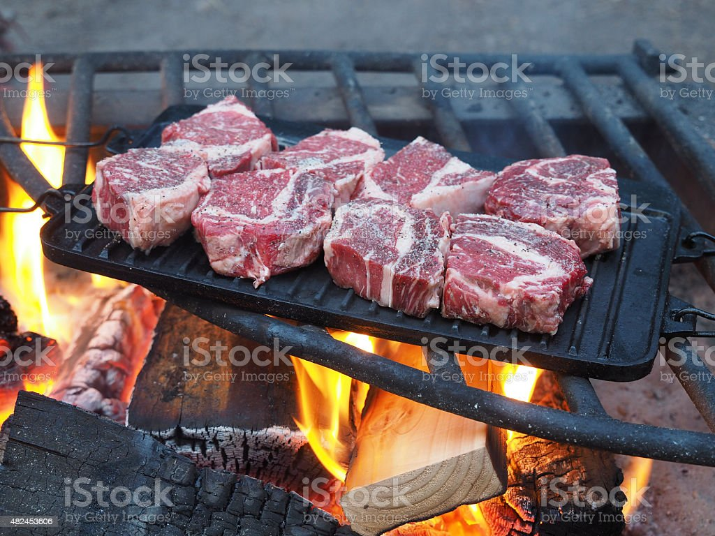 Steaks on campfire stock photo
