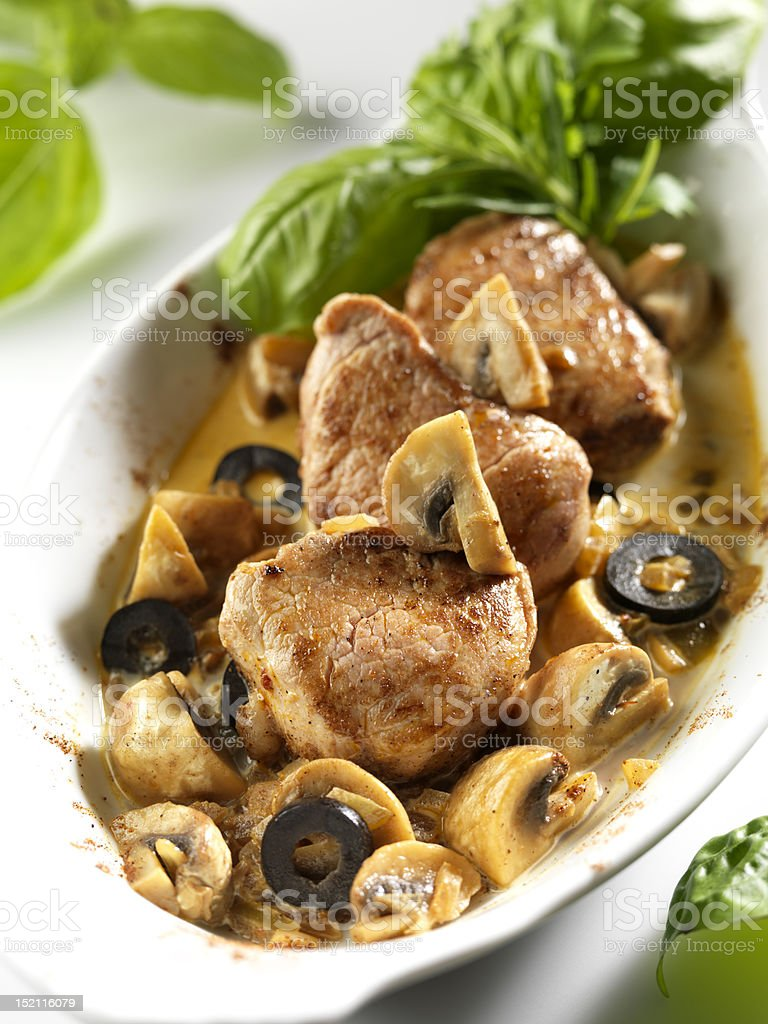 steaks with mushrooms royalty-free stock photo