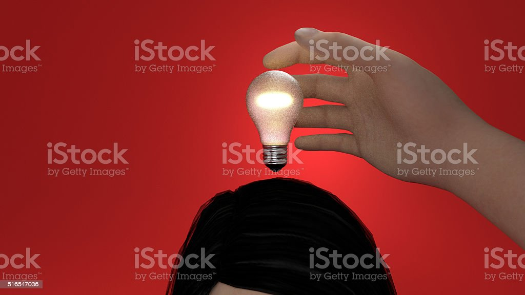 stealing an idea red background stock photo