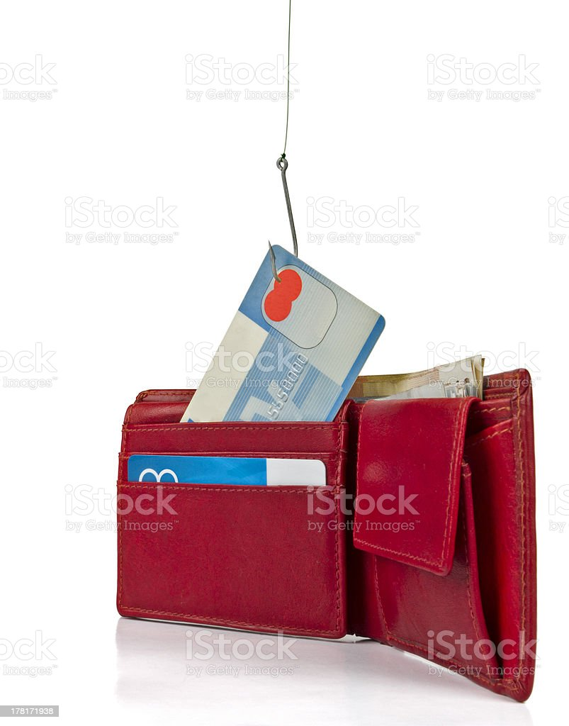 stealing credit card out of wallet royalty-free stock photo