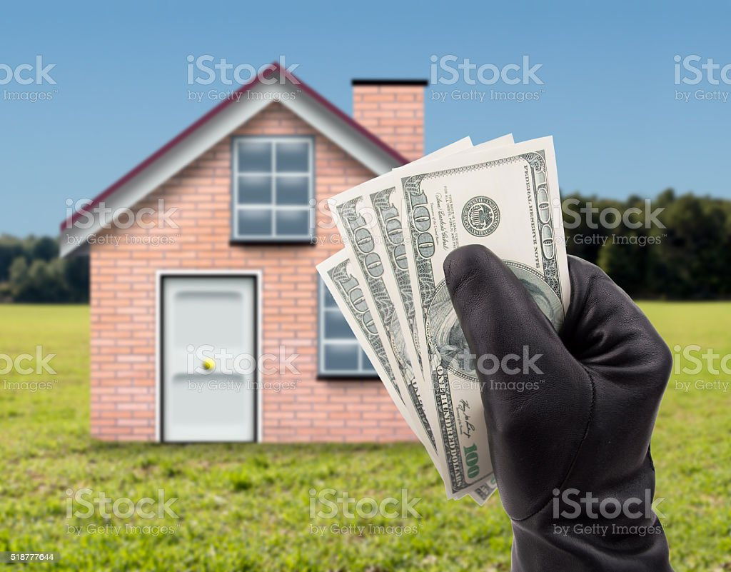 stealing dollars a country house stock photo
