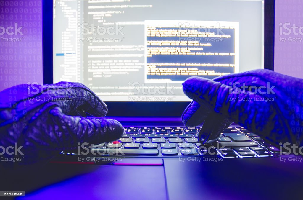 Stealing Information On Laptop stock photo