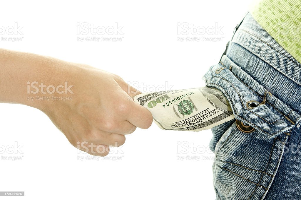 Stealing money isolated on white stock photo