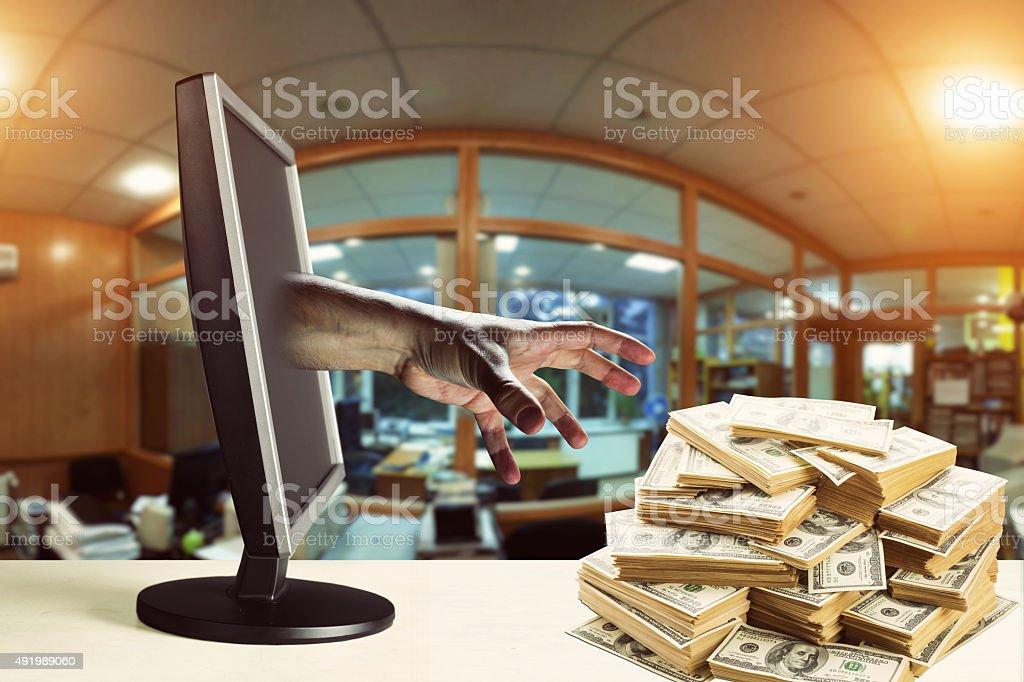 Stealing money stock photo