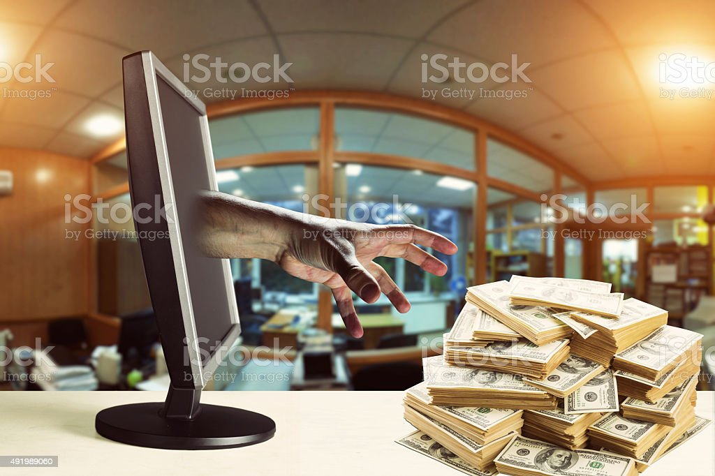 Stealing money stock photo