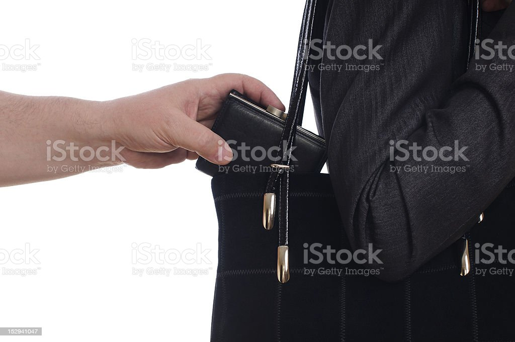 stealing purse from the bag royalty-free stock photo