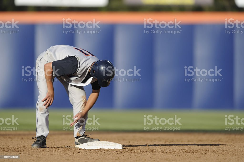 Stealing second base stock photo