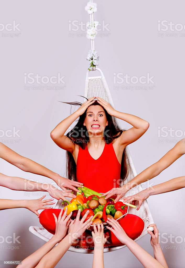 Stealing Vegetables one stock photo