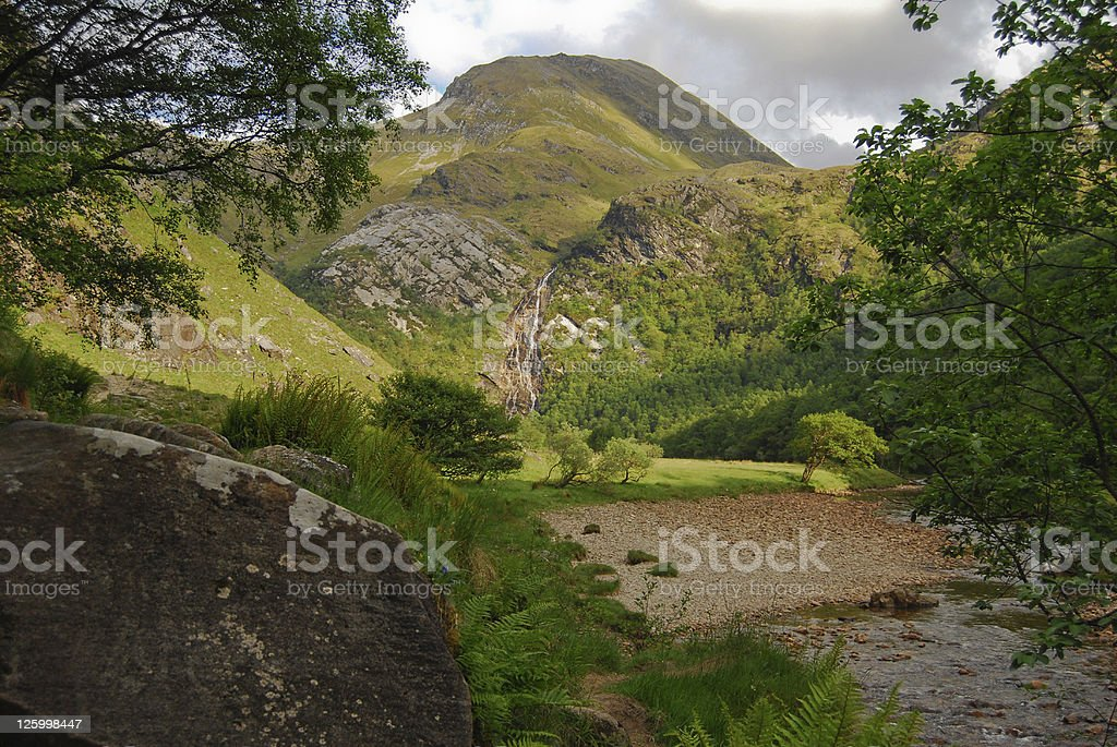 Steall Waterfall Scotland stock photo