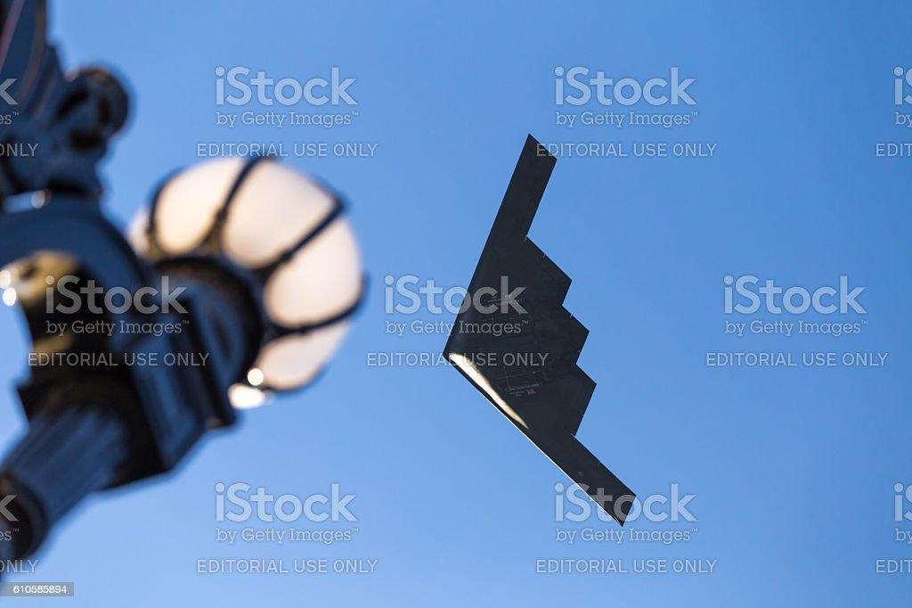 B-2 Stealth Bomber flying over Pasadena CA at Rose Parade stock photo