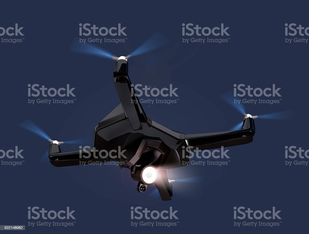 Stealth drone flying in the night sky stock photo