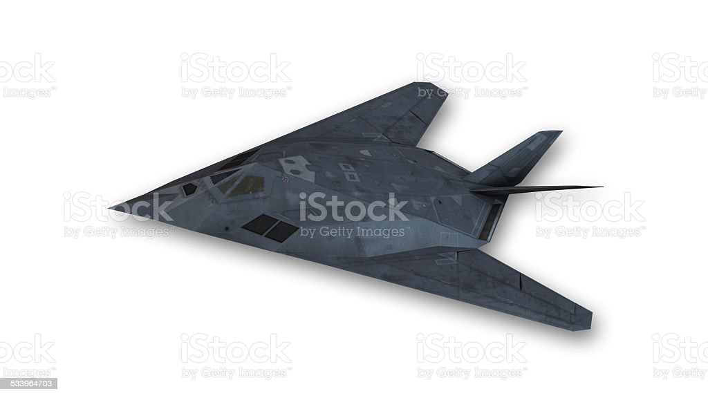 Stealth fighter flying stock photo