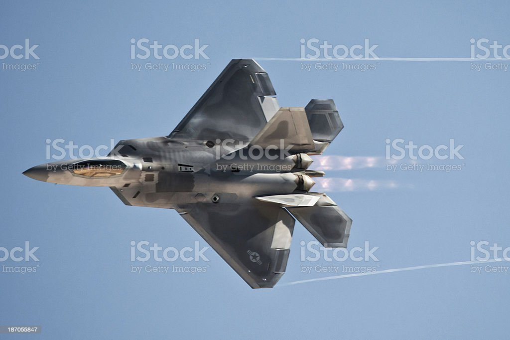 Stealth Fighter Jet with Afterburners and Clipping Path stock photo