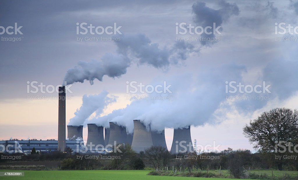 Steam billowing from Drax power station royalty-free stock photo