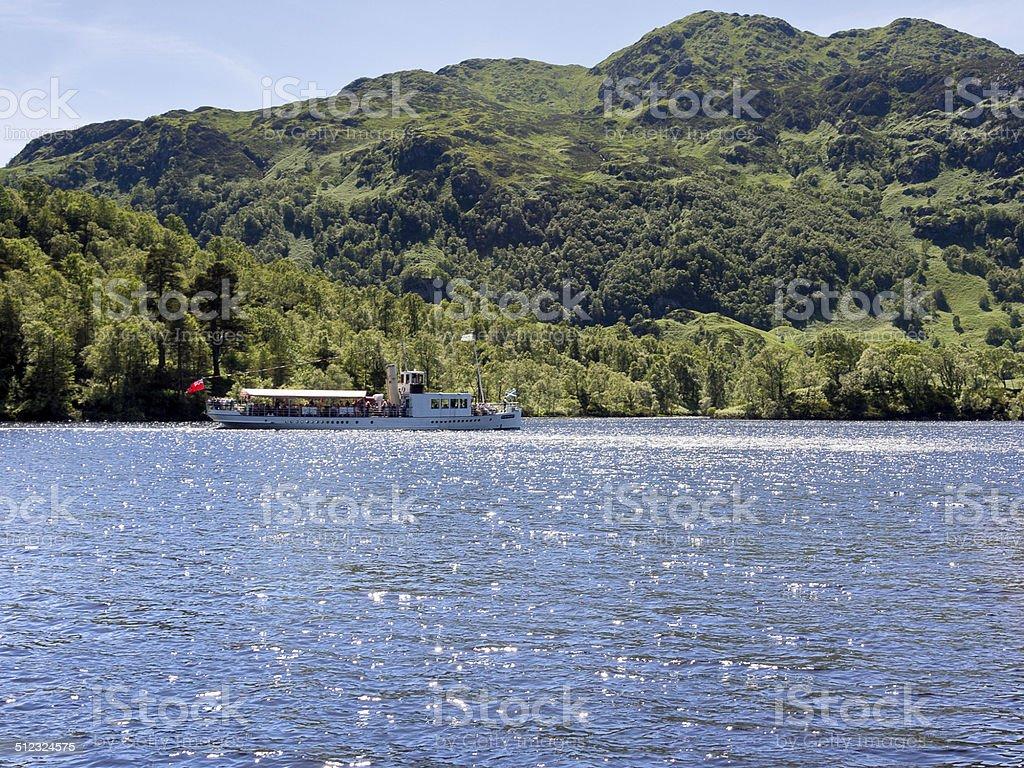 Steam boat on Loch Katrine stock photo