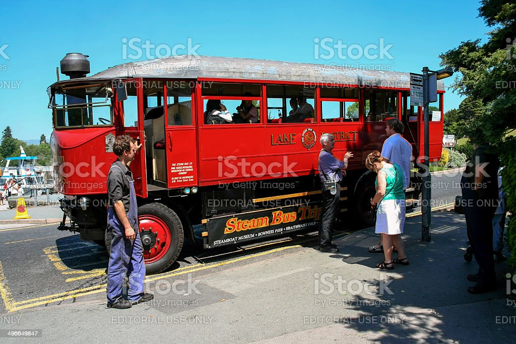 Steam Bus By Lake Windermere royalty-free stock photo