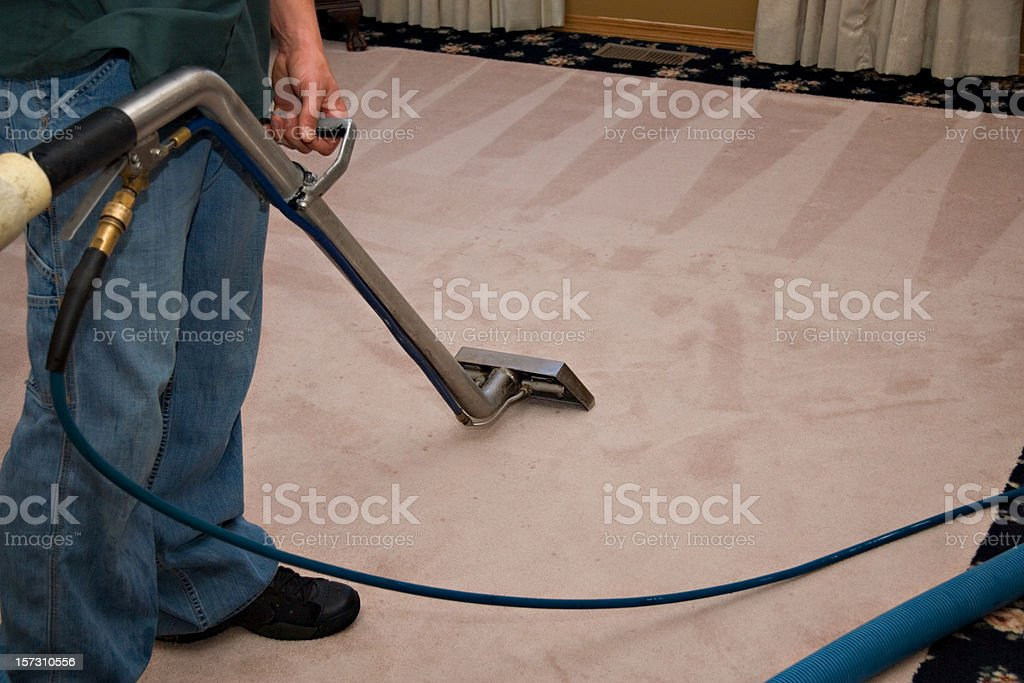 Steam Carpet Cleaning Process stock photo