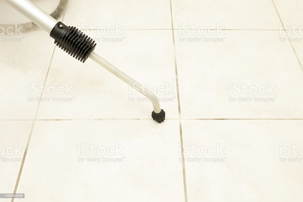 Steam Cleaning Bathroom Tile Grout stock photo