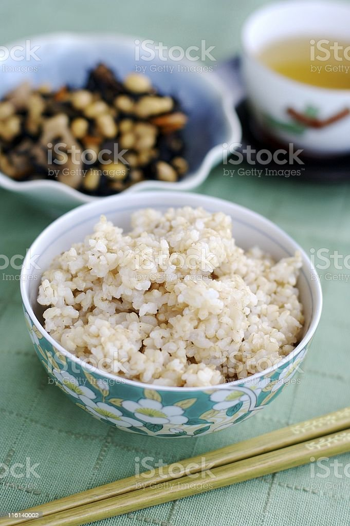 Steam cooked brown rice royalty-free stock photo