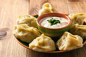 Steam cooked meat dumplings -traditional asian food.