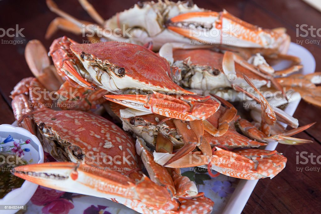 Steam Dungeness crab stock photo