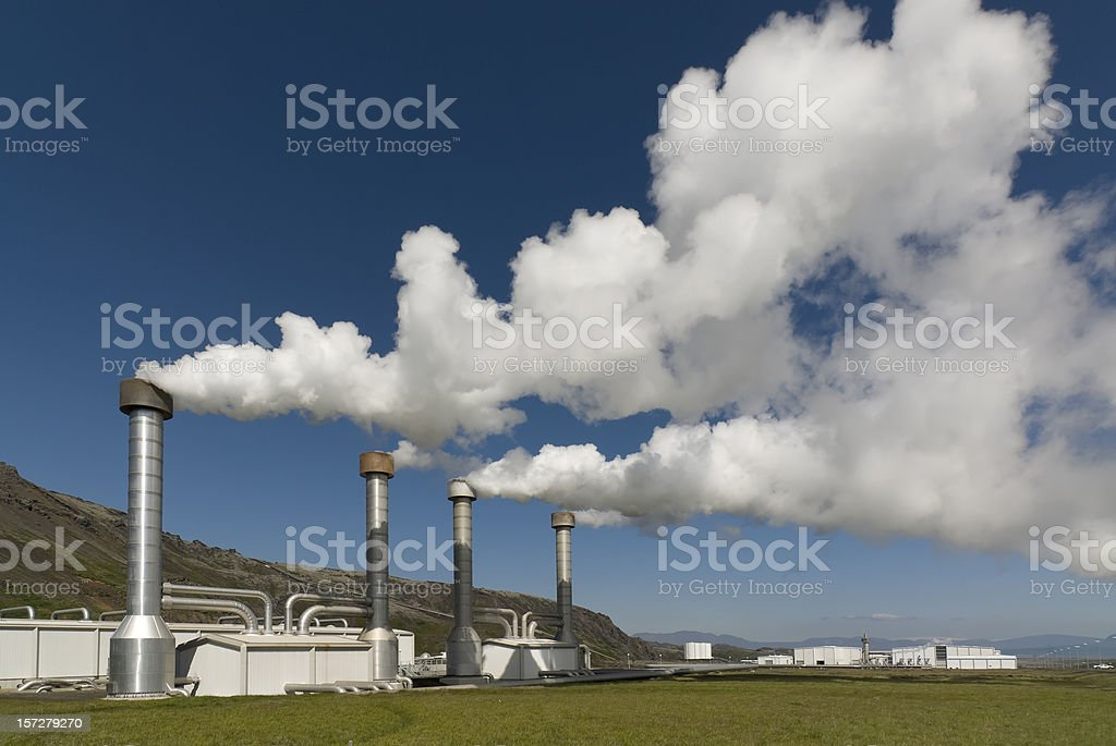 Steam emitted from a power plant stock photo