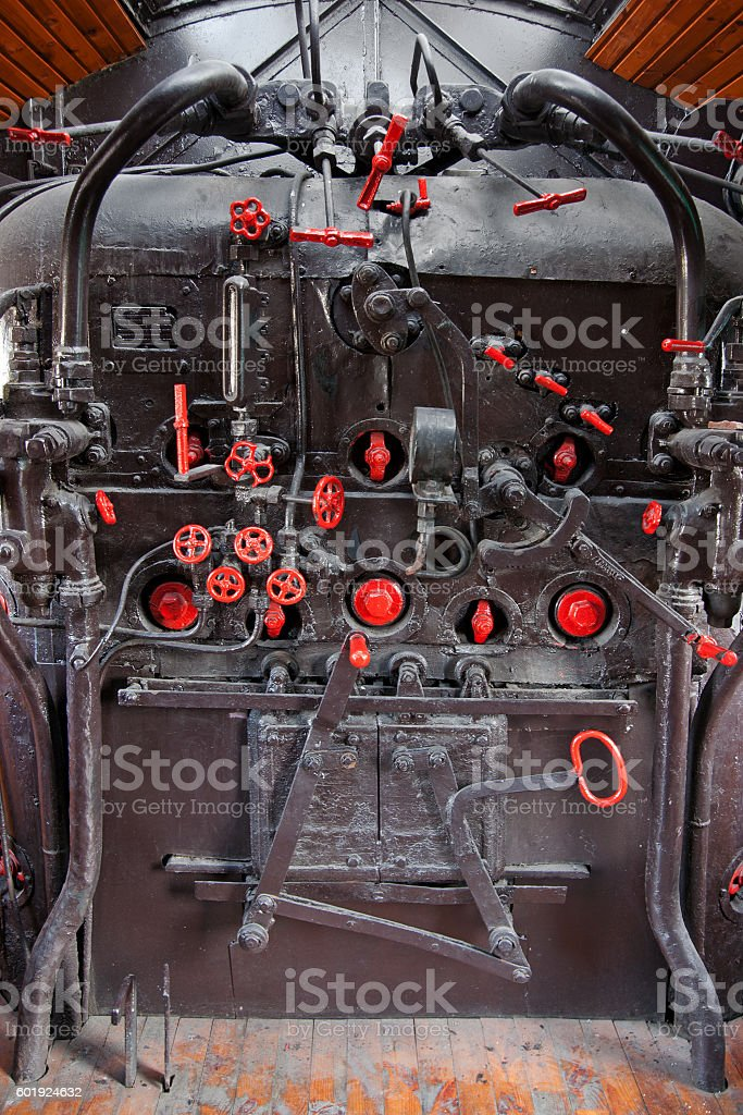 steam engine cockpit stock photo