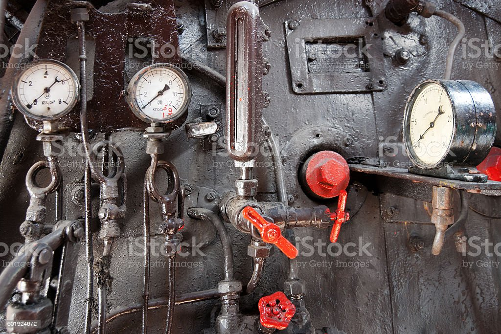 Steam engine control panel stock photo