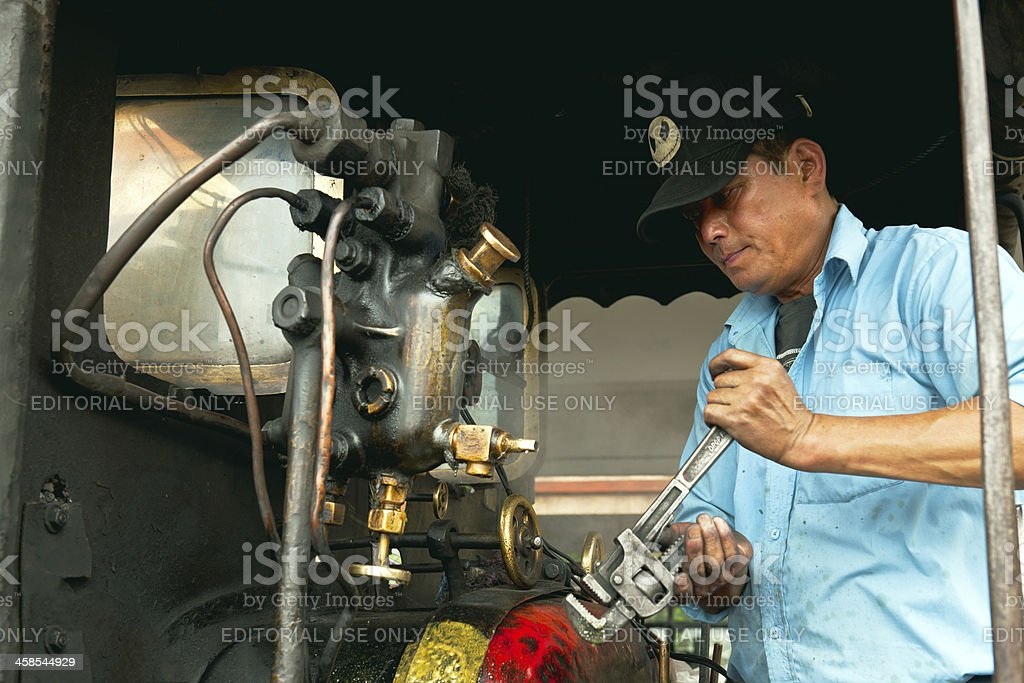 Steam Engine of Old Toy Train in Darjeeling, India stock photo