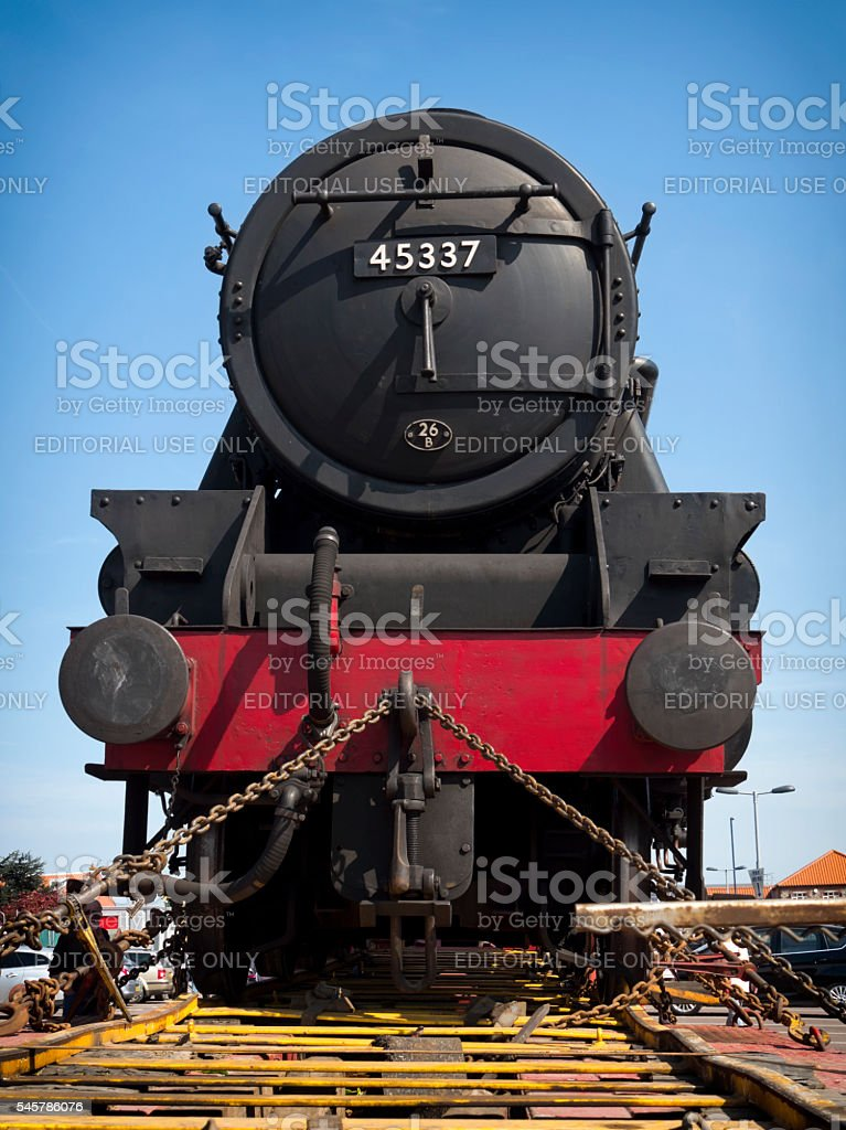 Steam engine on a lorry - front view stock photo