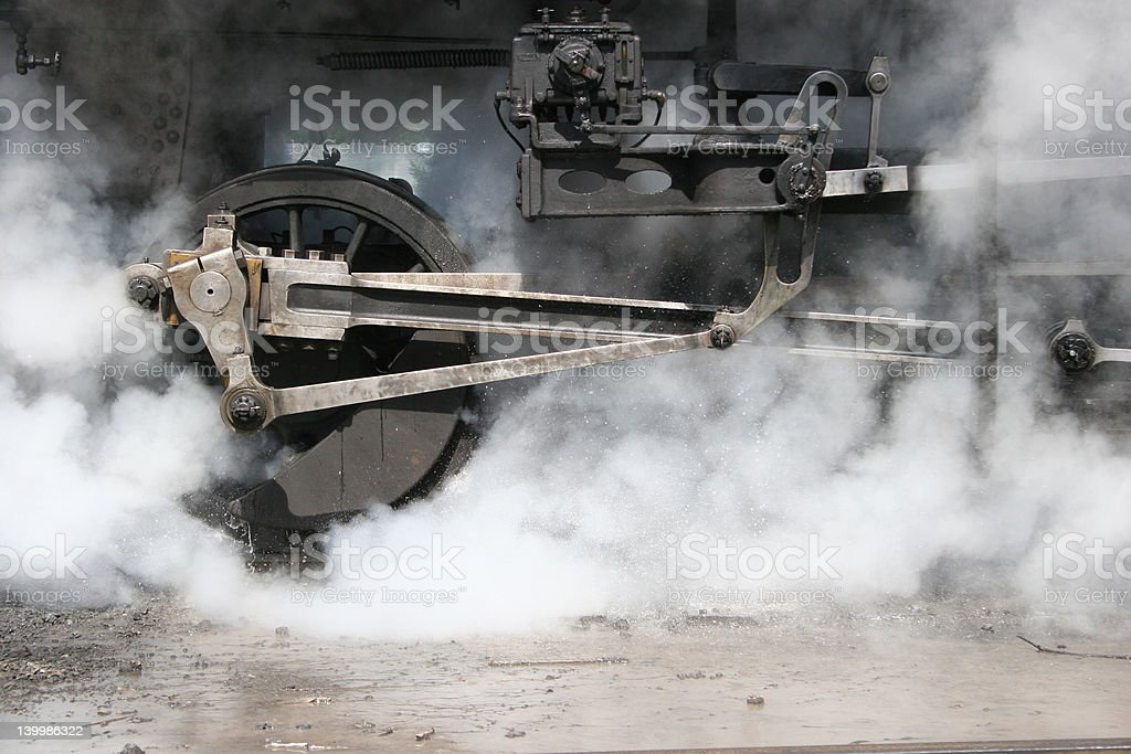 Steam Engine wheel and gears stock photo