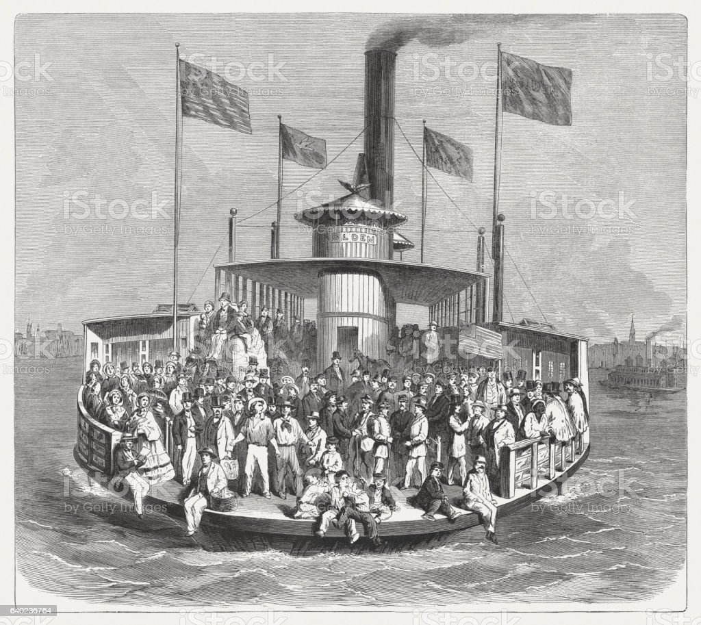 Steam ferry ship in New York, wood engraving, published 1865 stock photo