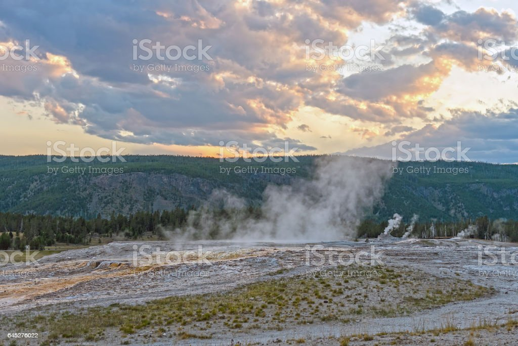 Steam from a Thermal Area at Sunset stock photo