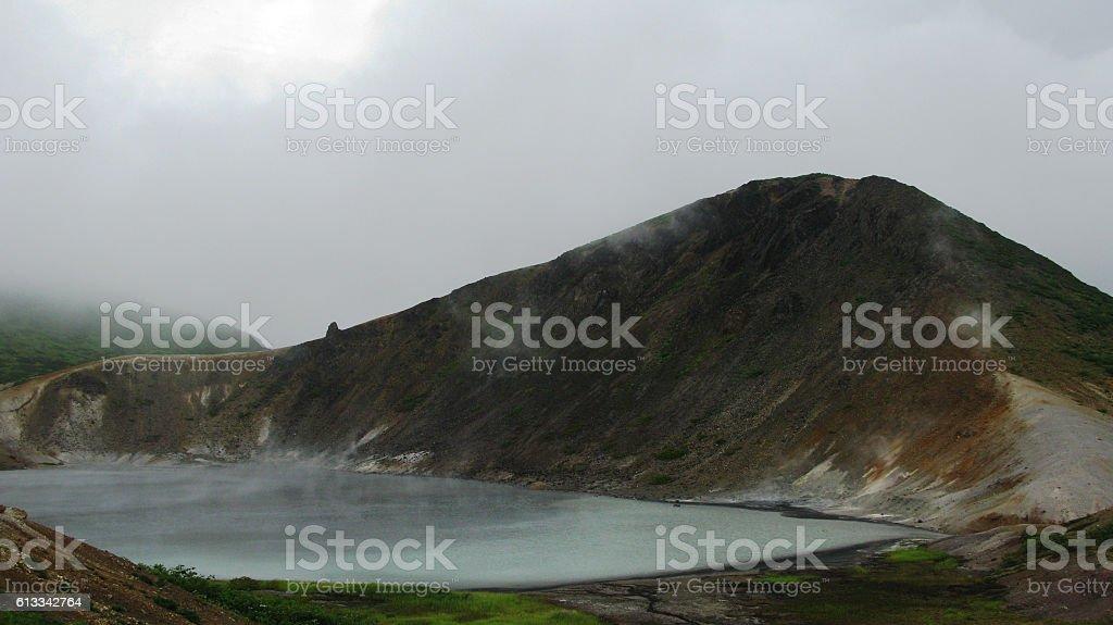 Steam lake in the Golovnina volcano, Kunashir Kurily, Russia stock photo