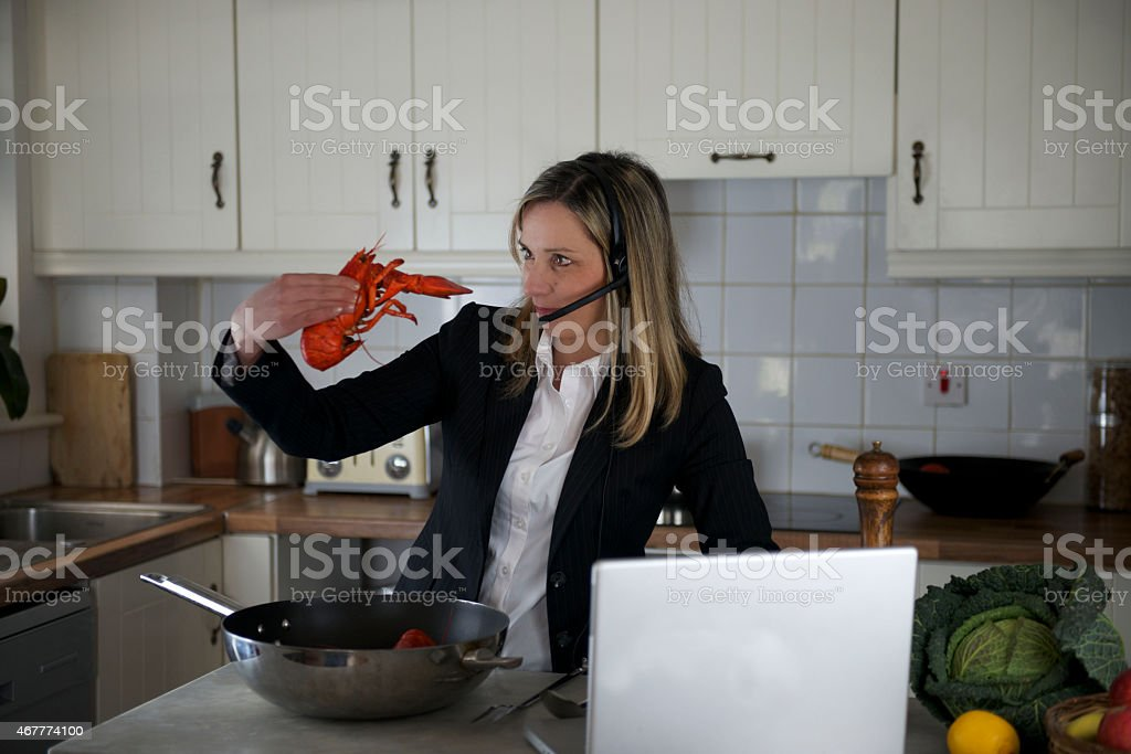 Steam Lobster and manager woman competition stock photo