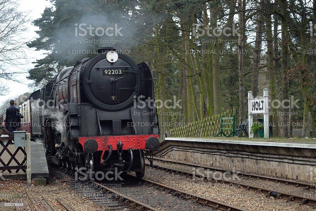 Steam locomotive 92203 Black Prince North Norfolk Railway stock photo