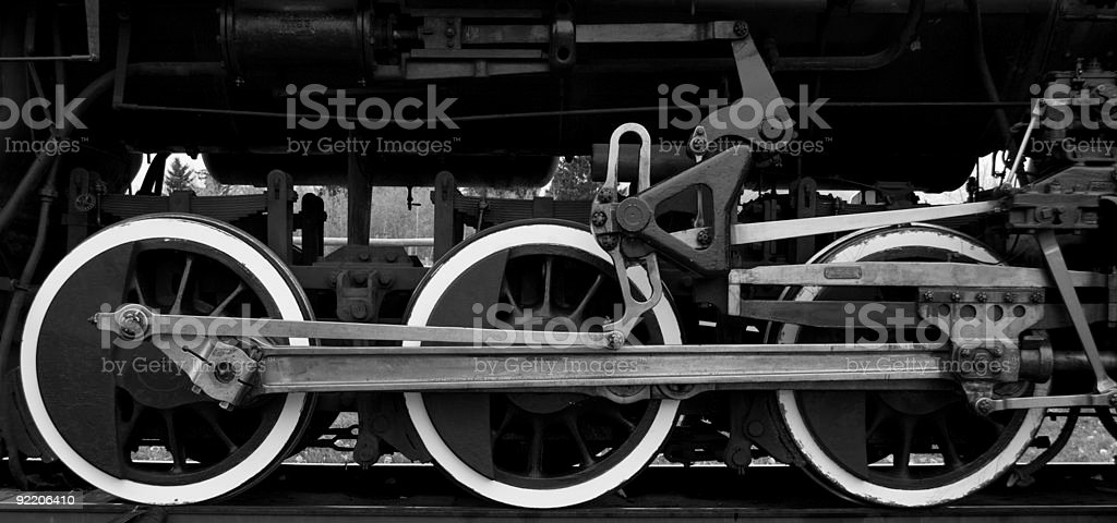 Steam locomotive drive wheels stock photo