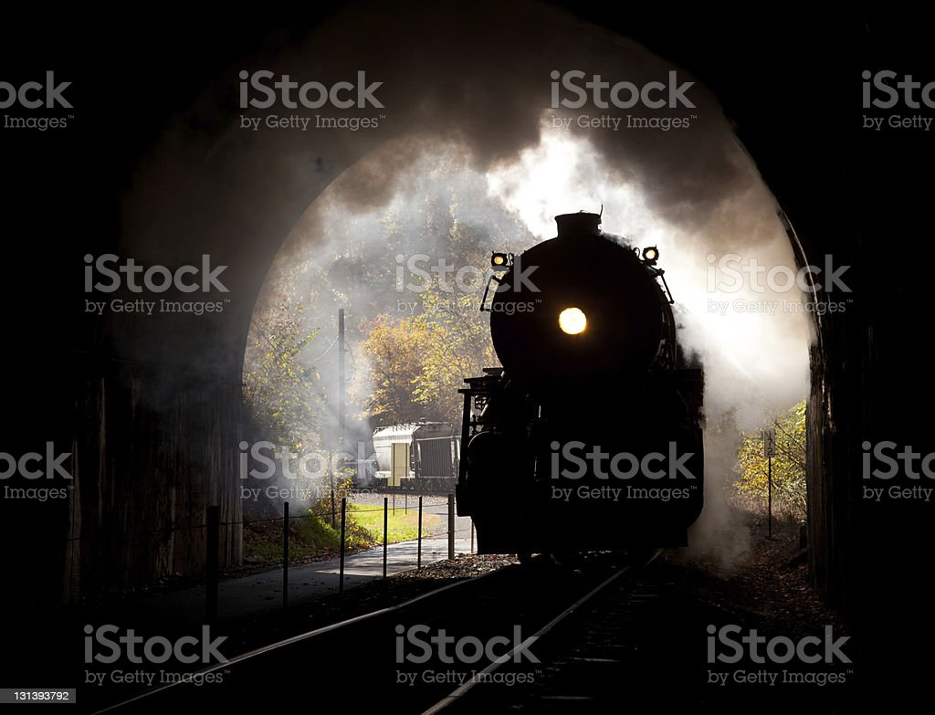 Steam locomotive enters tunnel royalty-free stock photo