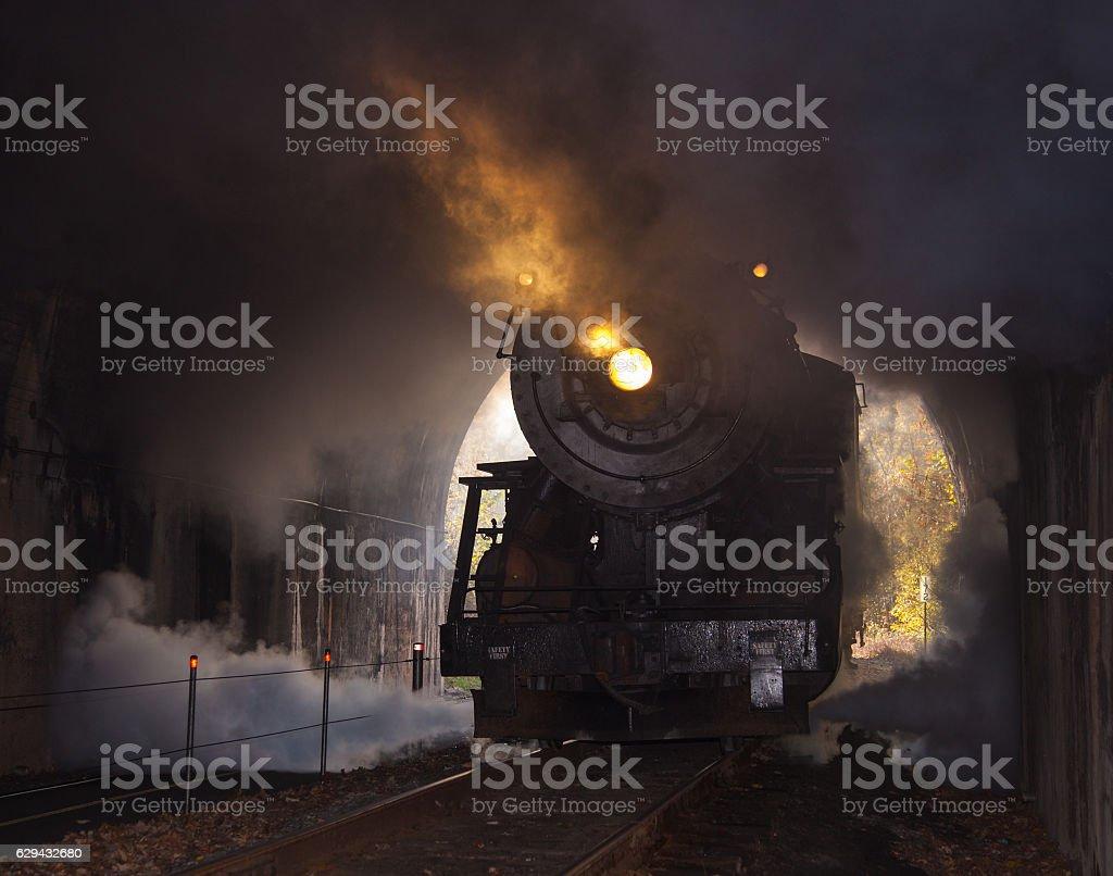 Steam locomotive enters tunnel stock photo