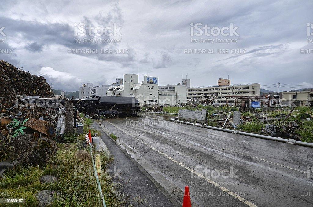 Steam Locomotive in Ishinomaki 6 month after Tsunami stock photo