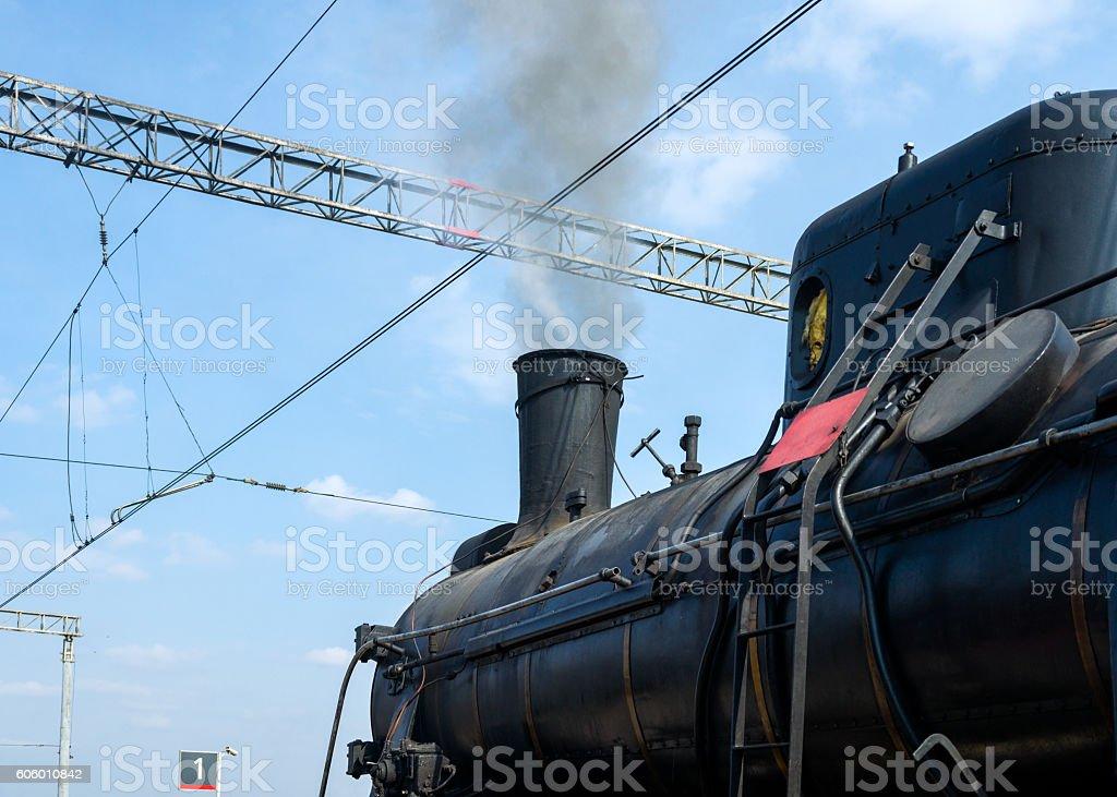 Steam locomotive in steam stock photo