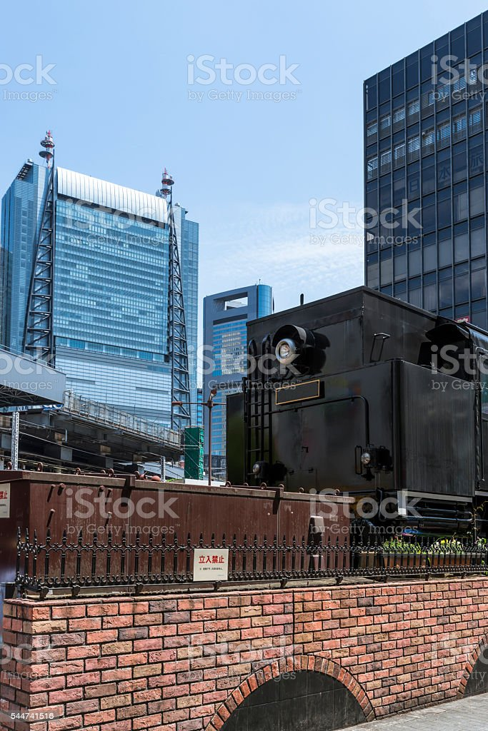Steam locomotive in the Shimbashi Station Square stock photo