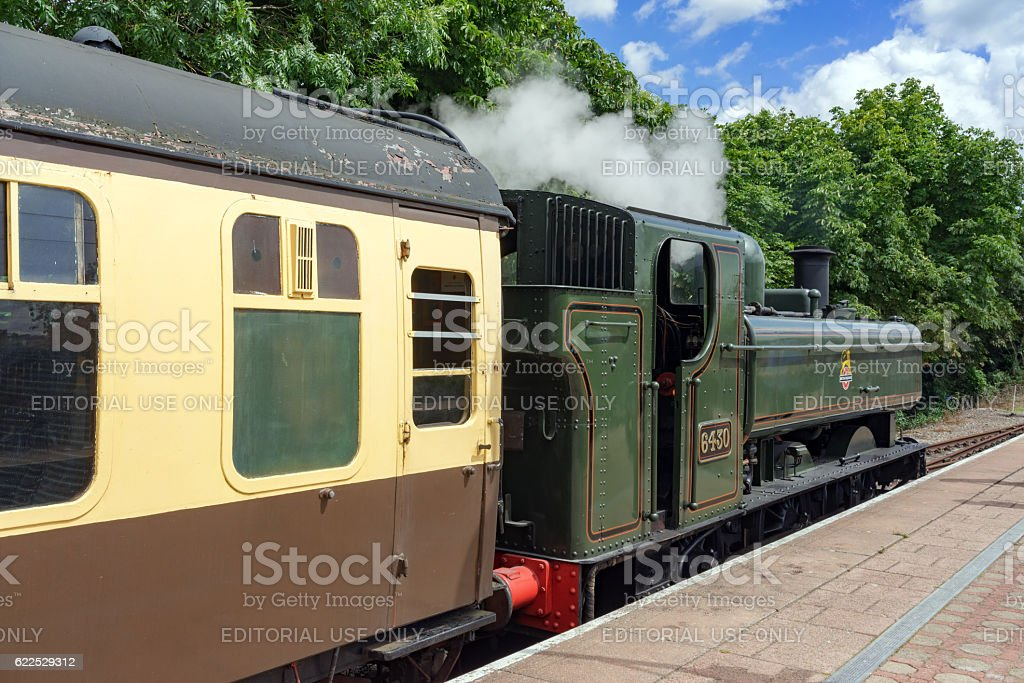 Steam locomotive on the Cholsey & Wallingford railway stock photo