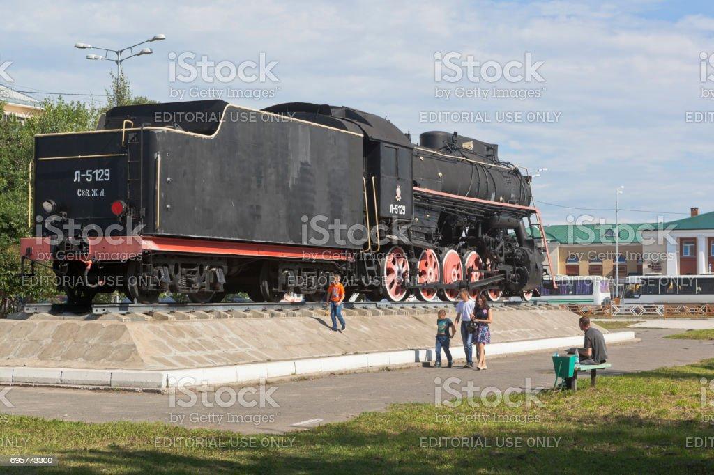 Steam locomotive on the station square in Kotlas, Arkhangelsk region stock photo