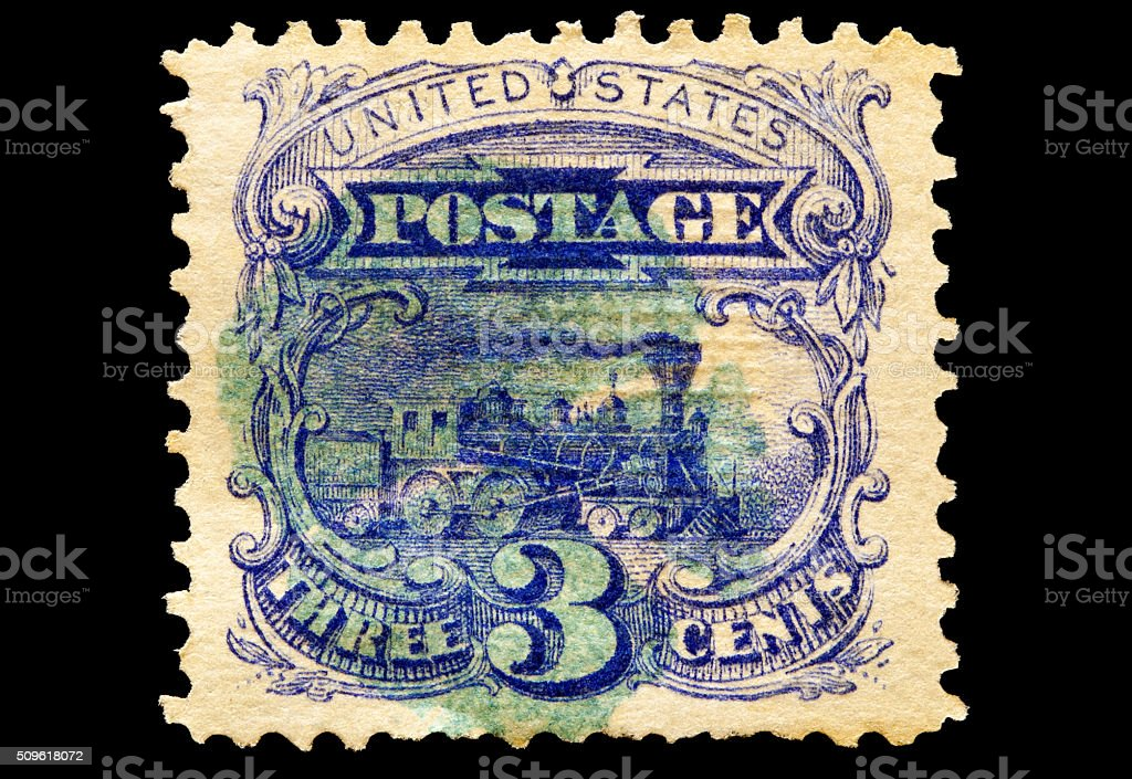 Steam Locomotive Postage Stamp 1869 stock photo